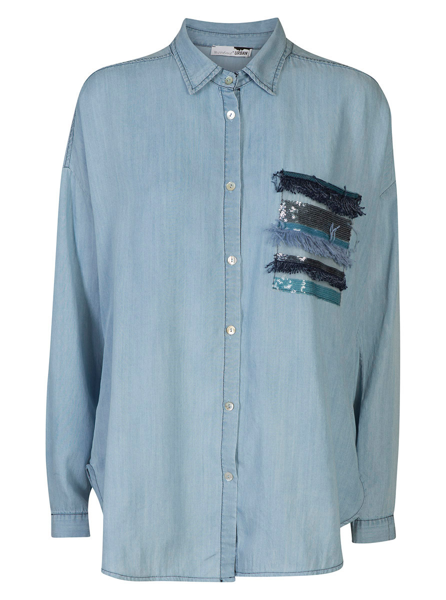 Shirt w/pocket l-blue