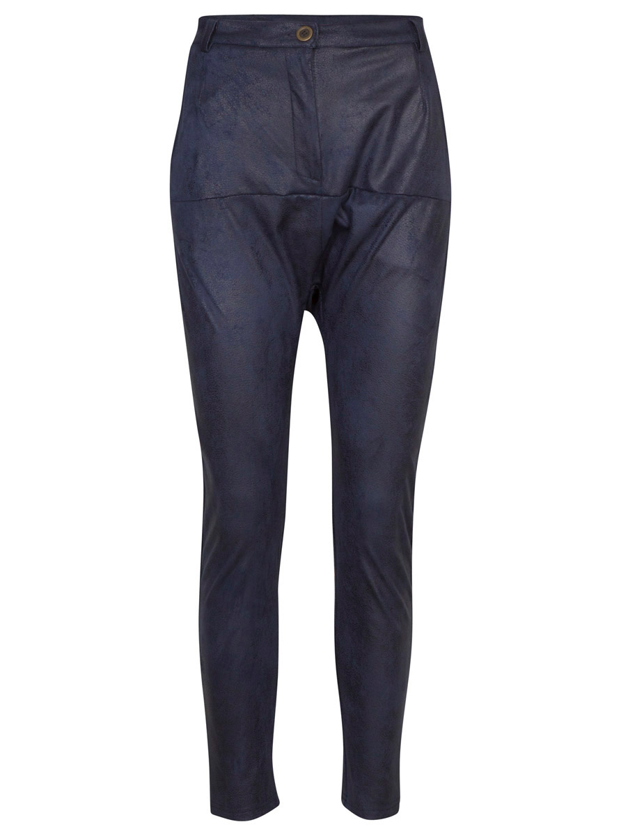 Pants fake leather blue